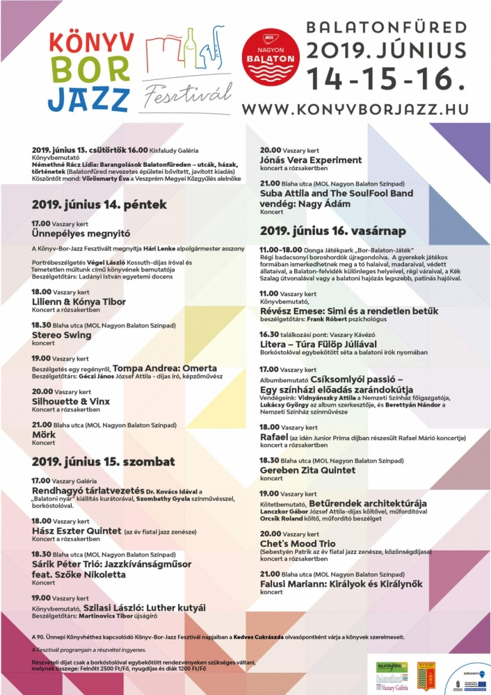 7381b507c8fc Könyv - Bor - Jazz Fesztivál Balatonfüred 2019 - Programturizmus